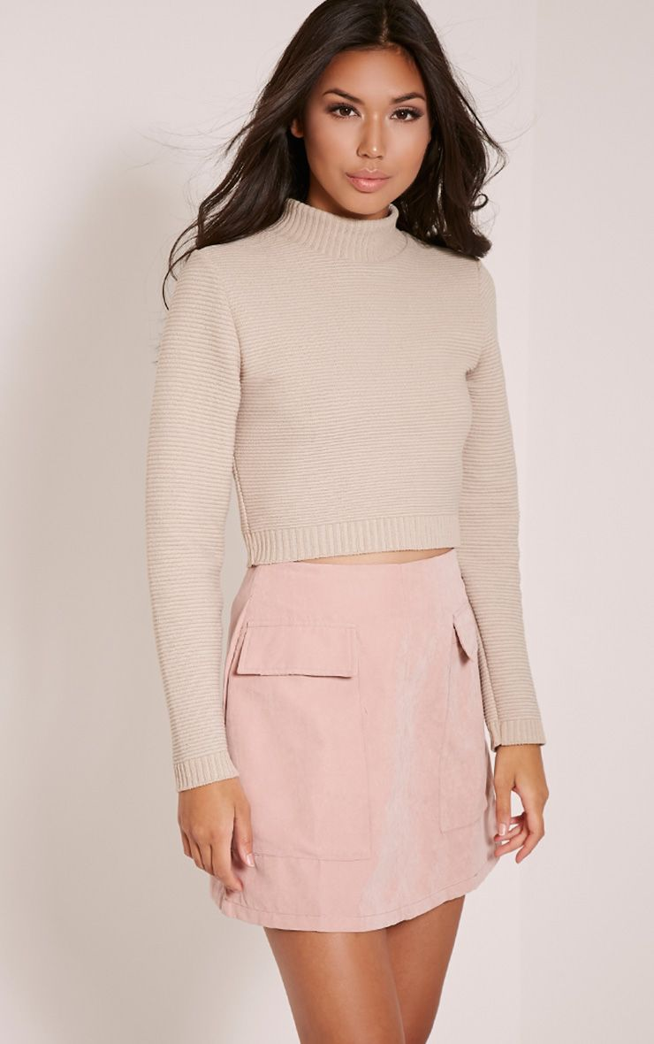 Stone Ribbed Crop Knitted Jumper  1