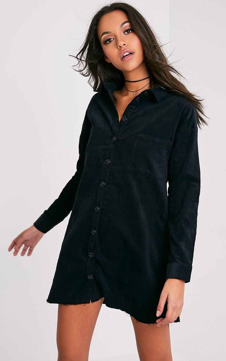 Tiyra Black Corduroy Shirt Dress