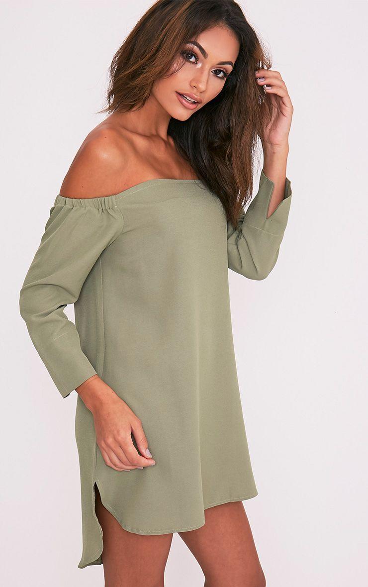 Kandle robe trapèze bardot vert sauge à ourlet arrondi 5