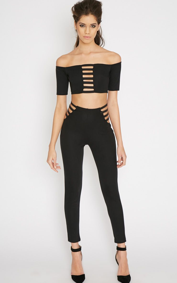 Mayra Black Cut Out Trouser  1