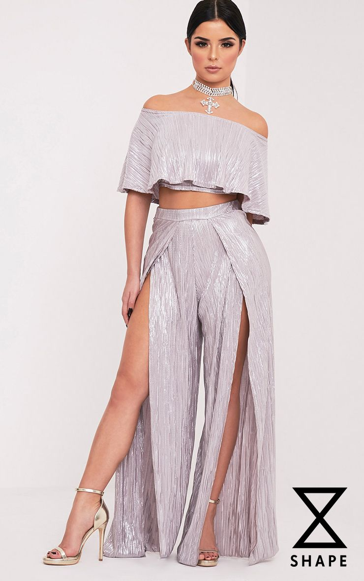 Shape Madaline Silver Split Front Metallic Trousers