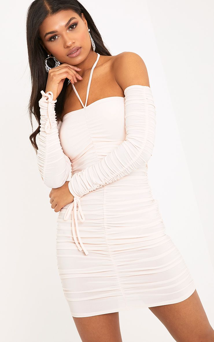 Raelynn Nude Halterneck Ruched Sleeve Bodycon Dress