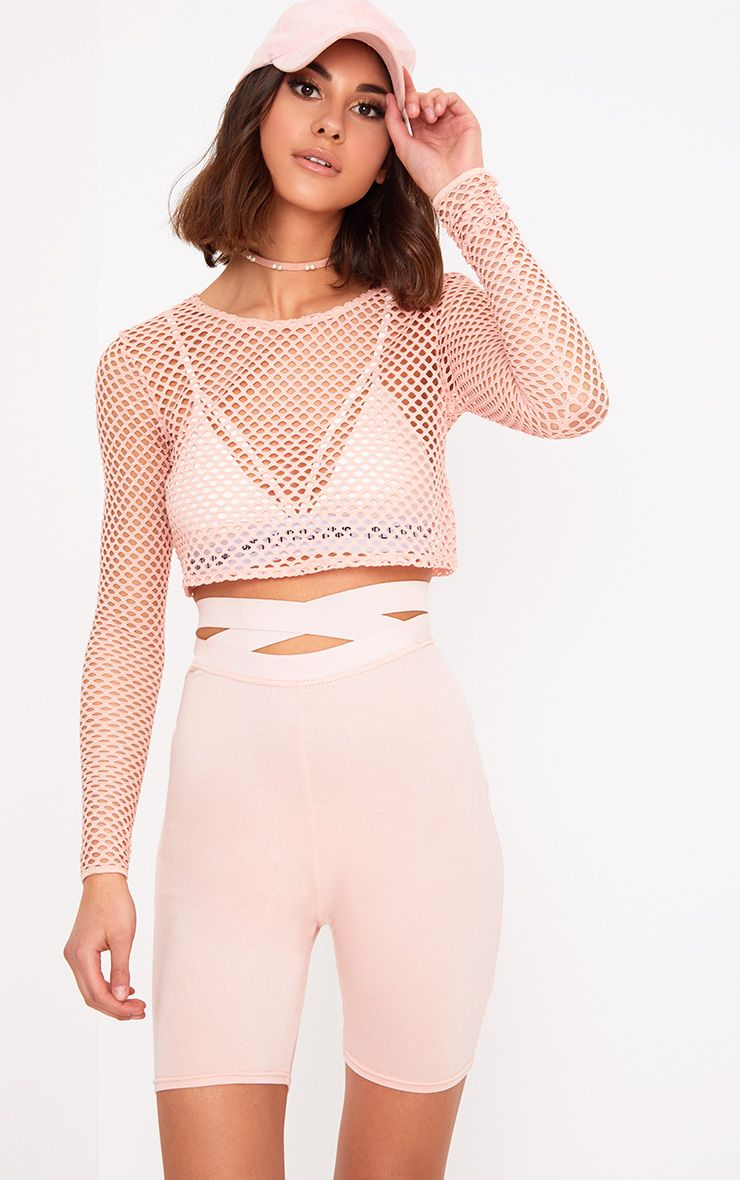 Pink Fishnet Longsleeve Crop Top