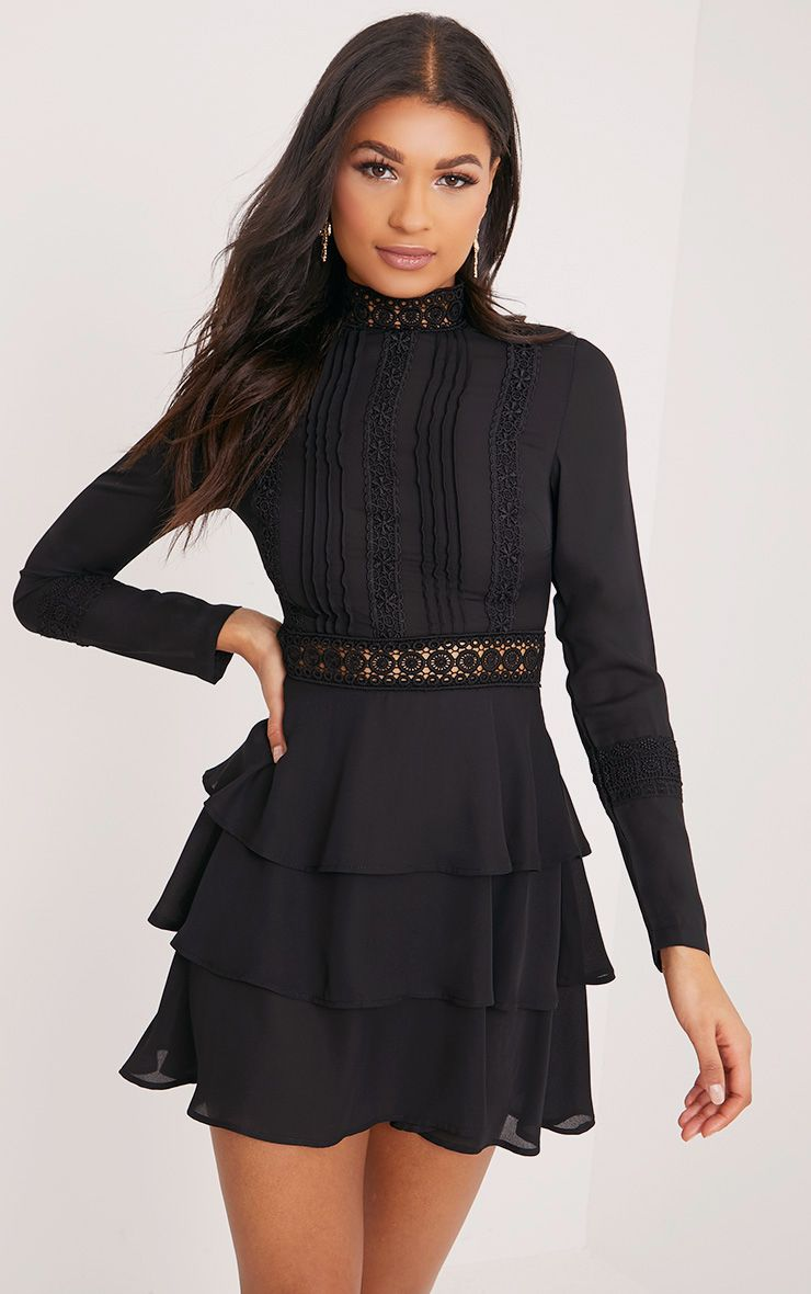 Hope Black Crochet Lace High Neck Ruffle Swing Dress