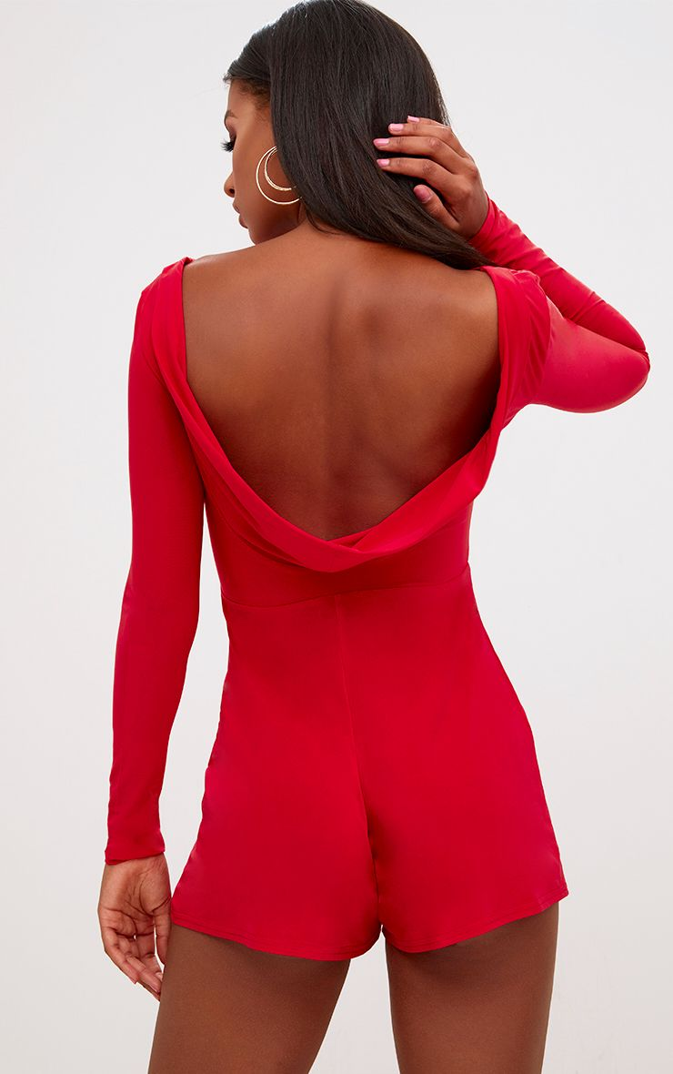 Red Cowl Back Playsuit