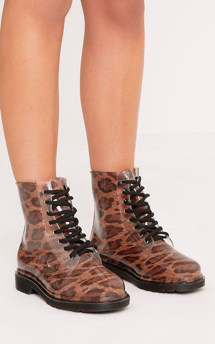 Jaslene Tan Leopard Lace Up Rain Boots 1