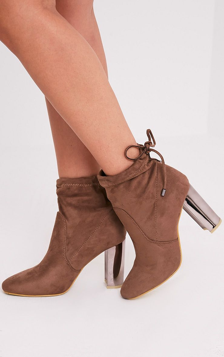 Christal Mocha Faux Suede Chrome Heel Ankle Boots
