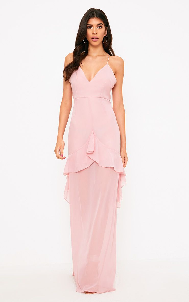 Dusty Pink Strappy Frill Detail Maxi Dress