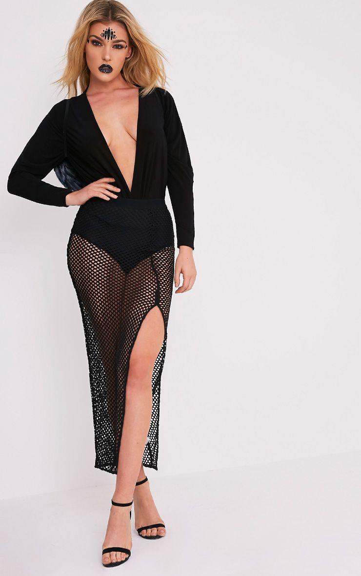 Amellia Black Fishnet Maxi Skirt