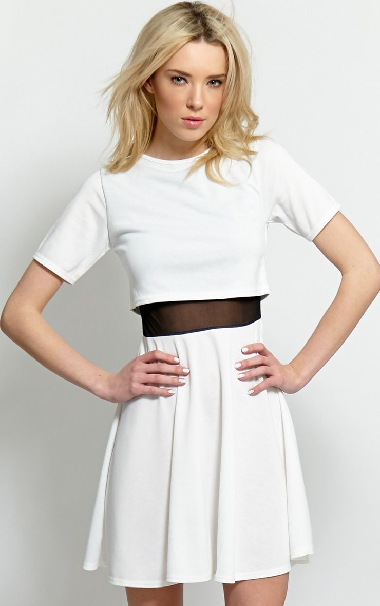 Suzie White Jersey Mesh Skater Dress 1