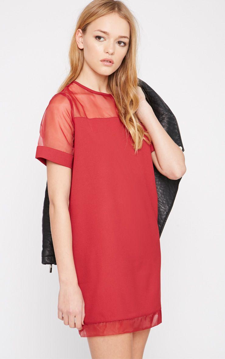 Brogan Burgundy Mesh Tshirt Dress  1