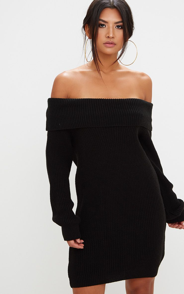 Product photo of Black off shoulder oversized knitted mini dress black