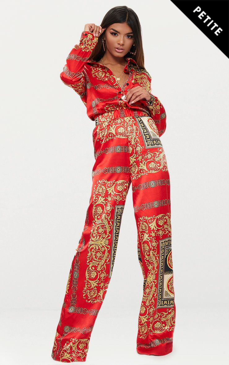 Petite Red Satin Scarf Print Wide Leg Trousers