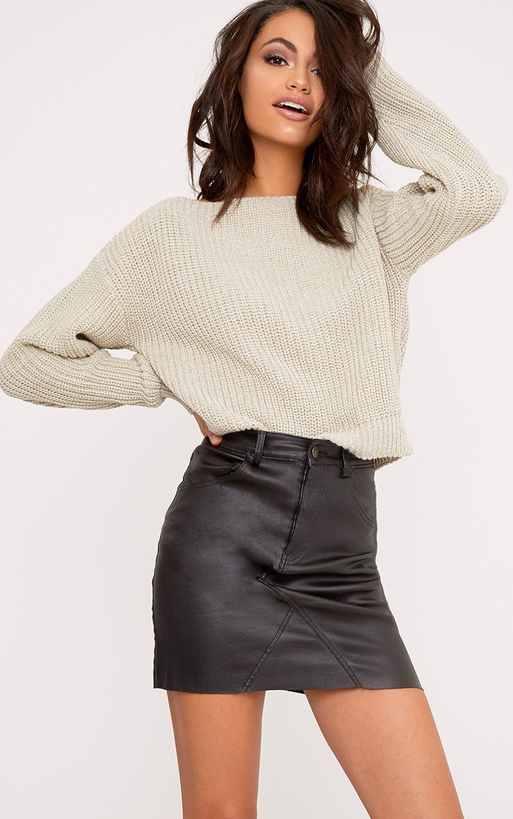 Christiana Stone Mixed Knit Slash Neck Crop Jumper