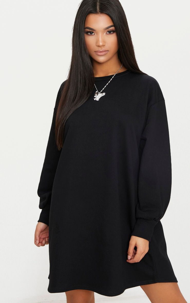 Black Oversized Sweater Dress 1