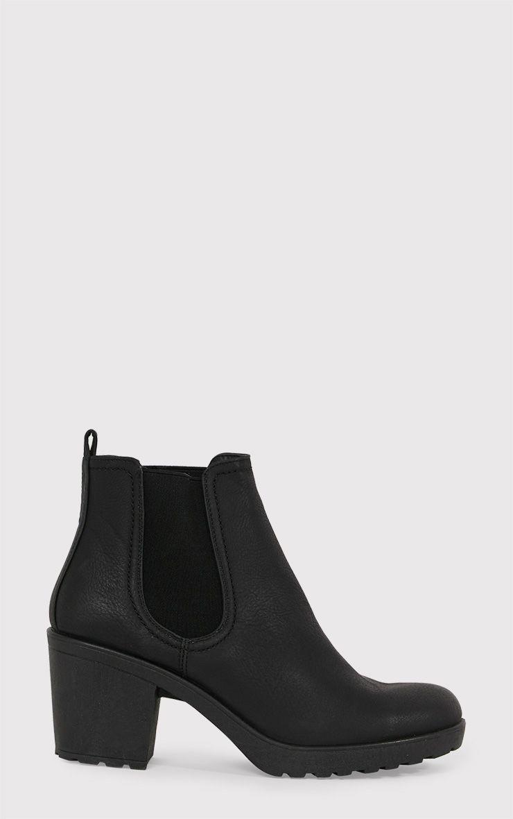 Daria Black PU Heeled Ankle Boots 1