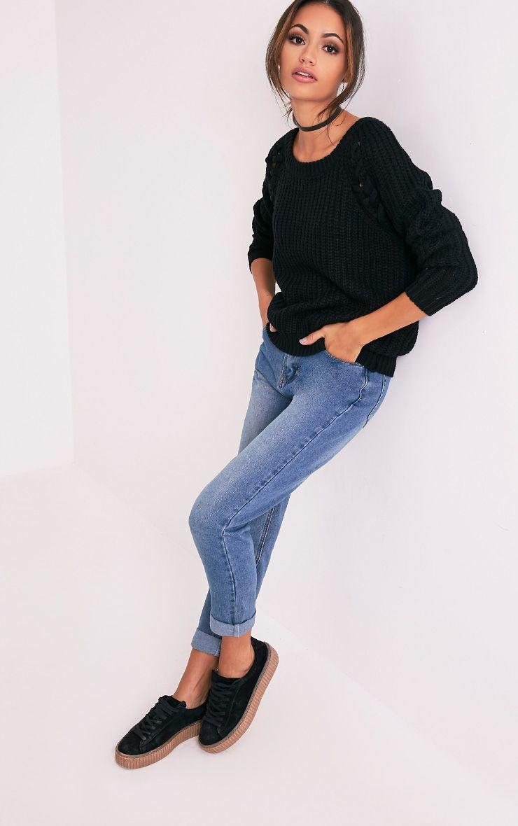 Iolanne pull tricoté épais à lacets noir 5