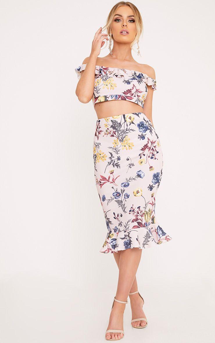 Alyson Blush Frill Hem Floral Midi Skirt