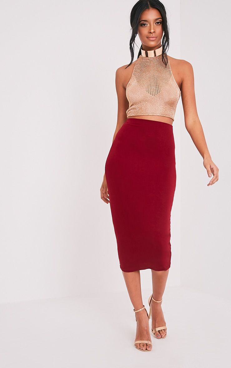 Basic Burgundy Longline Midi Skirt