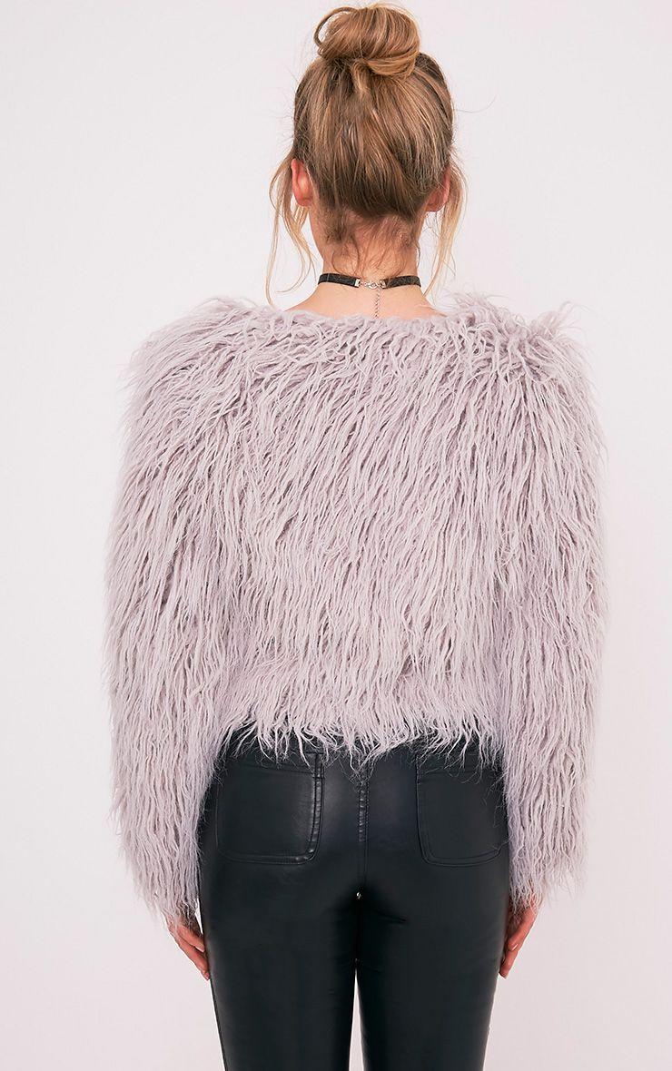 Liddie Grey Faux Fur Shaggy Cropped Jacket Coats
