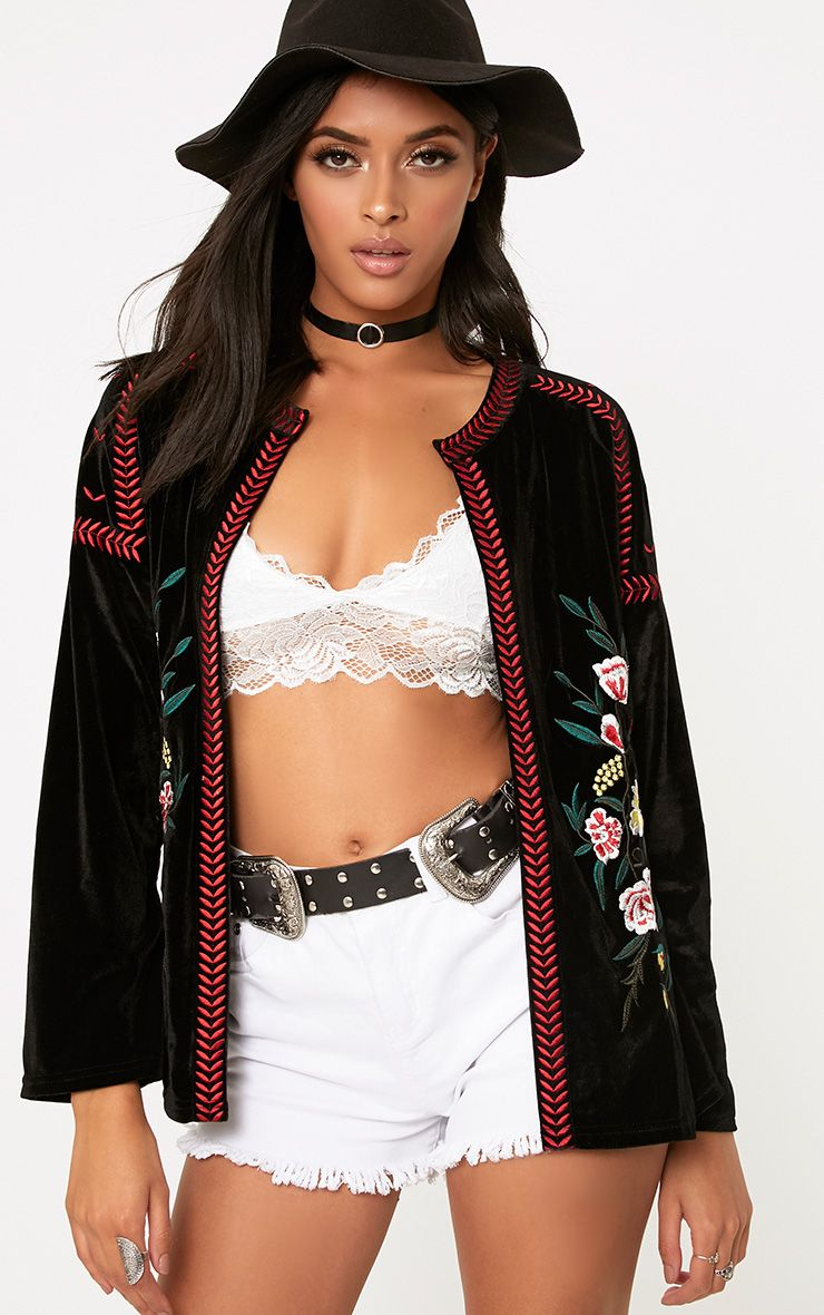 Karensa Black Floral Embroidered Velvet Jacket