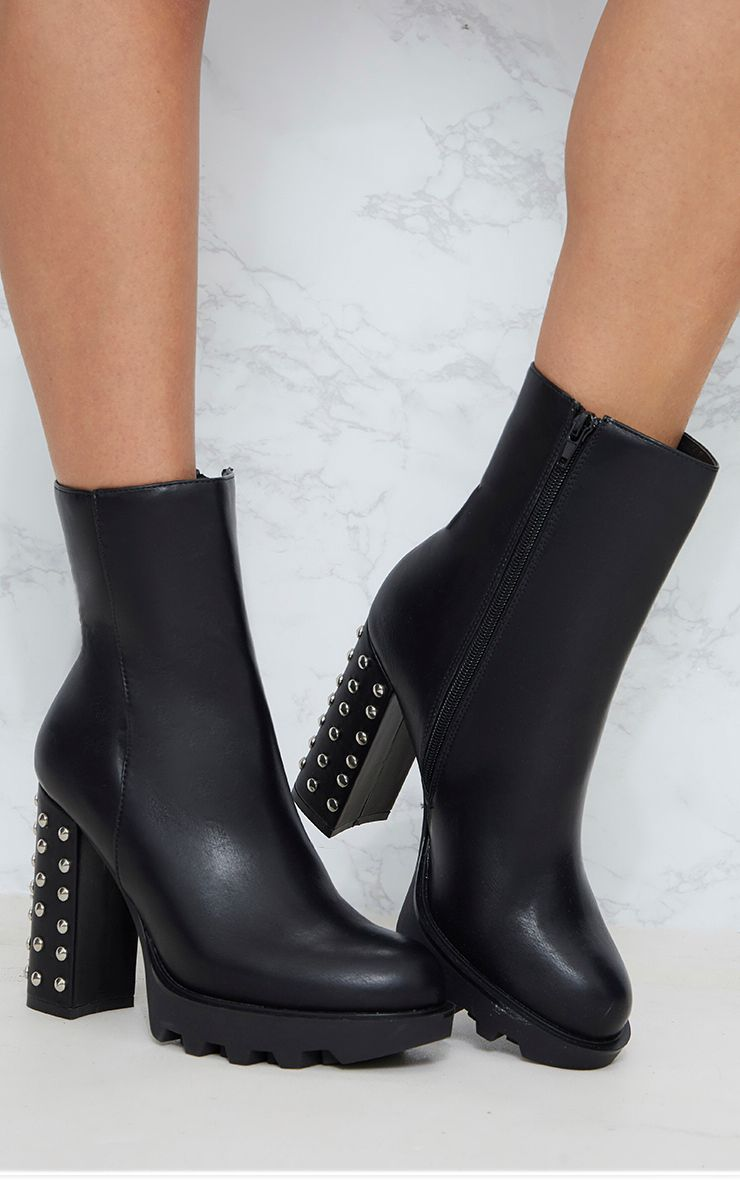 Black PU Studded High Heel Ankle Boot