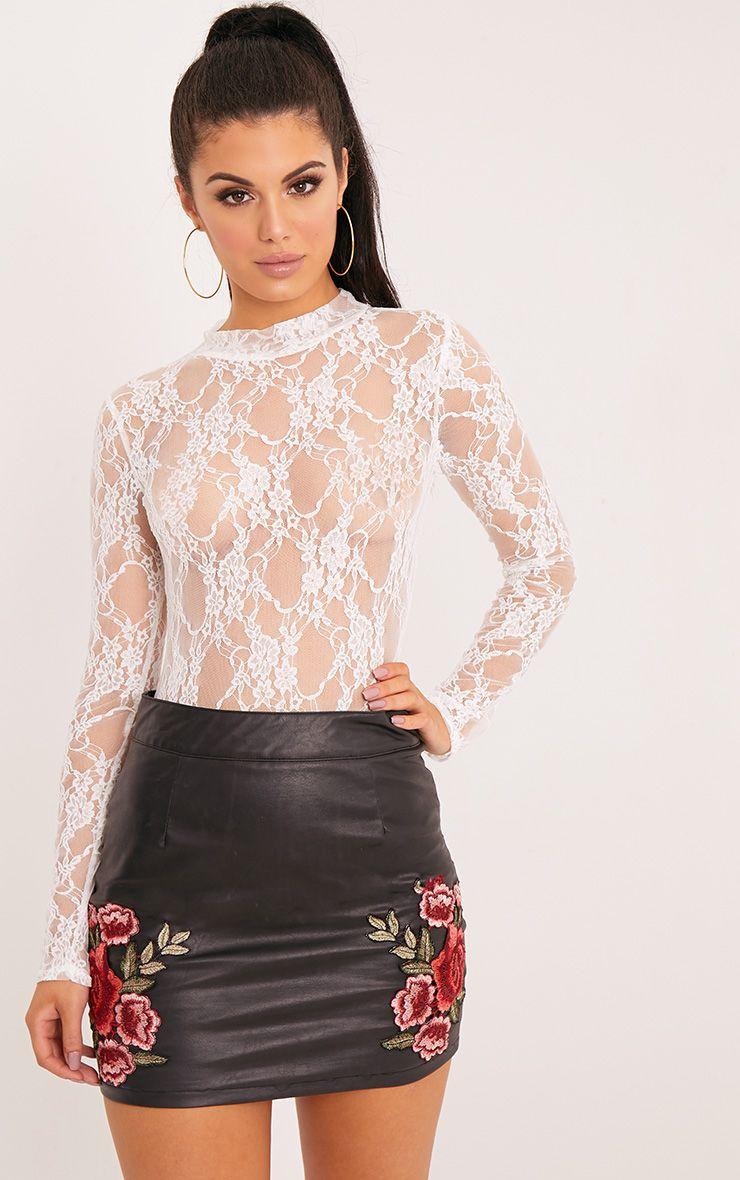 Esmea Cream Lace Longsleeve Thong Bodysuit