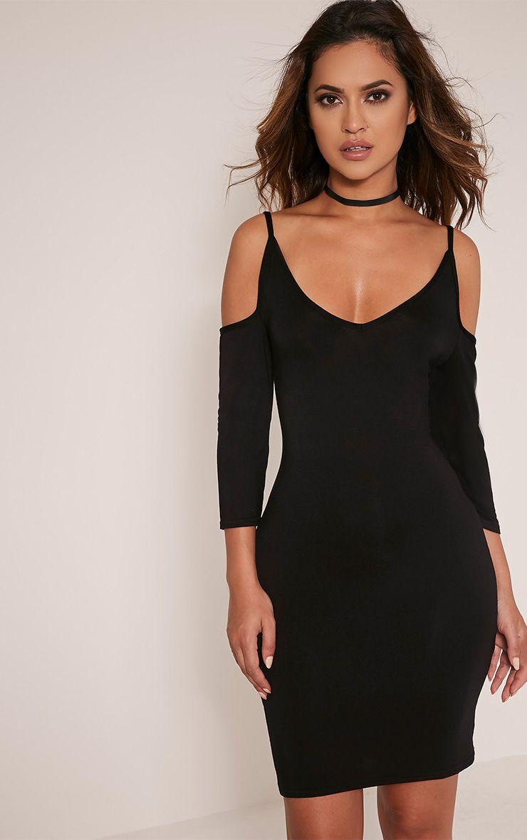 Kaleah Black Cold Shoulder Bodycon Dress 1