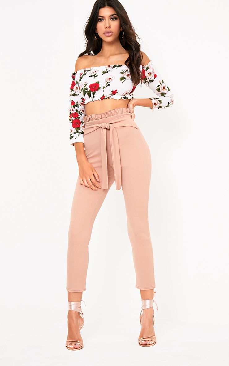 Stone Paperbag Tie Waist Cropped Trousers
