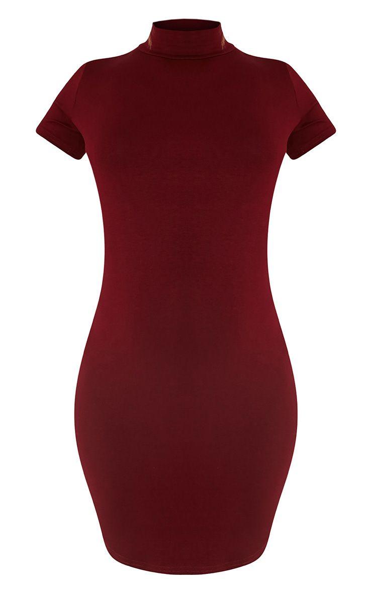 Alby Burgundy Cap Sleeve Curve Hem High Neck Dress 3