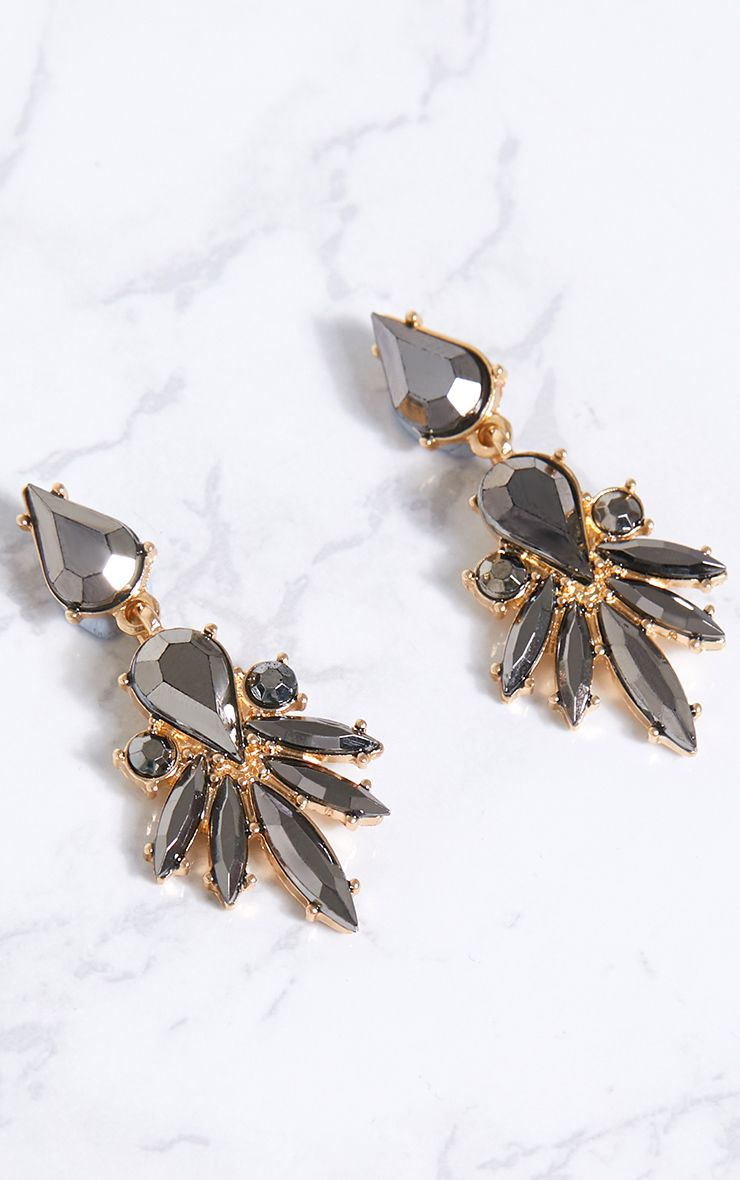Grey Jewel Drop Earrings 1