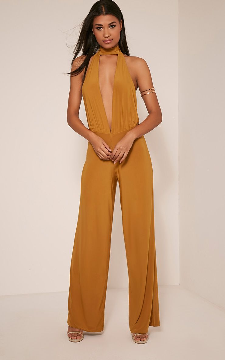 Laurie Gold Backless Choker Detail Slinky Jumpsuit