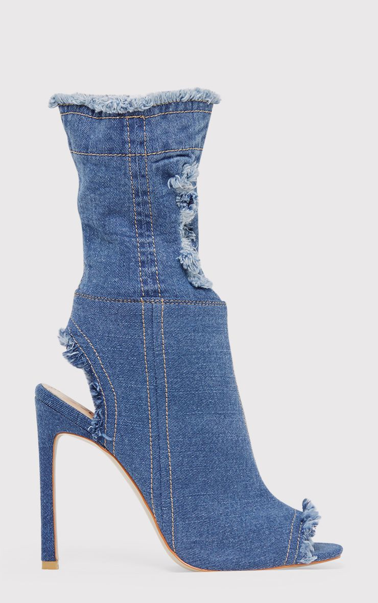 Anya Blue Ripped Denim Cut out Sock Ankle Boots