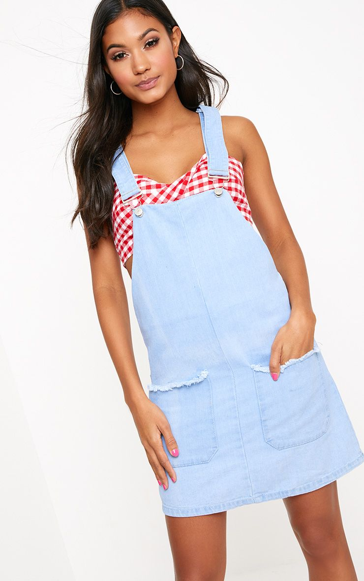 Light Wash Frayed Pocket Denim Pinafore Dress