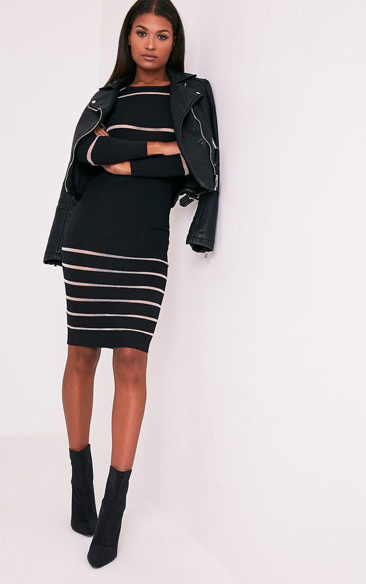 Serene Black Mesh Panel Knitted Midi Dress 5