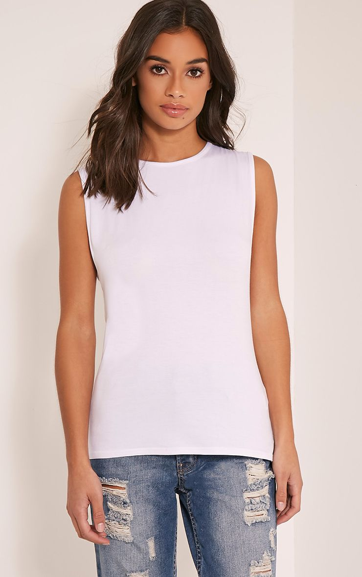 Basic White Round Neck Vest 1