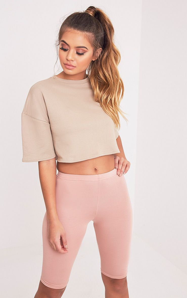 Elna Taupe Boxy Shortsleeve Crop Sweater