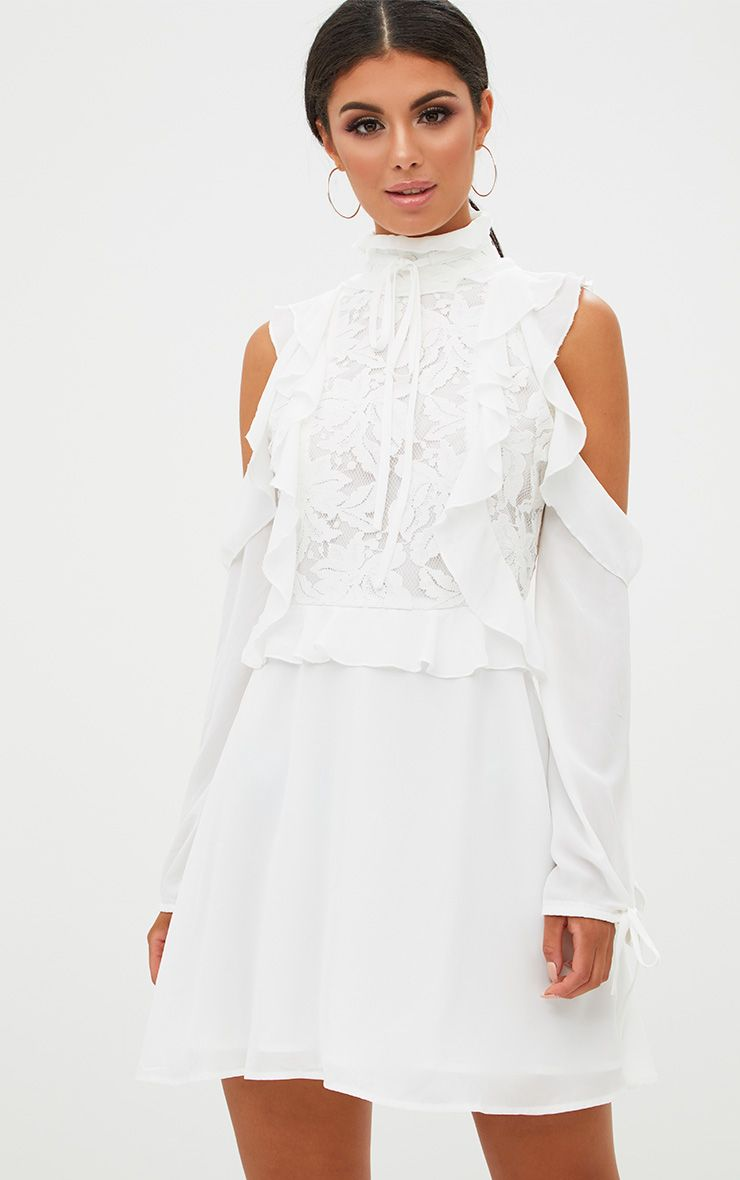 White Cold Shoulder Ruffle Detail Lace Shift Dress