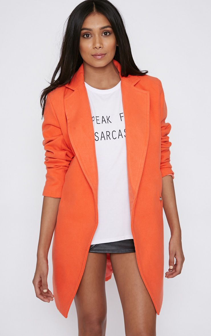 Taylor Orange Cross Over Boyfriend Coat 1