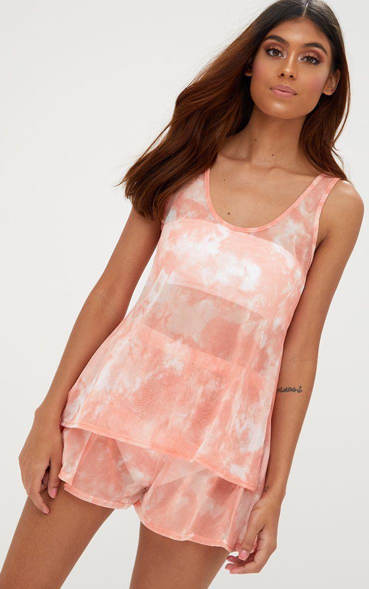 Pink Tie Dye Mesh Shorts