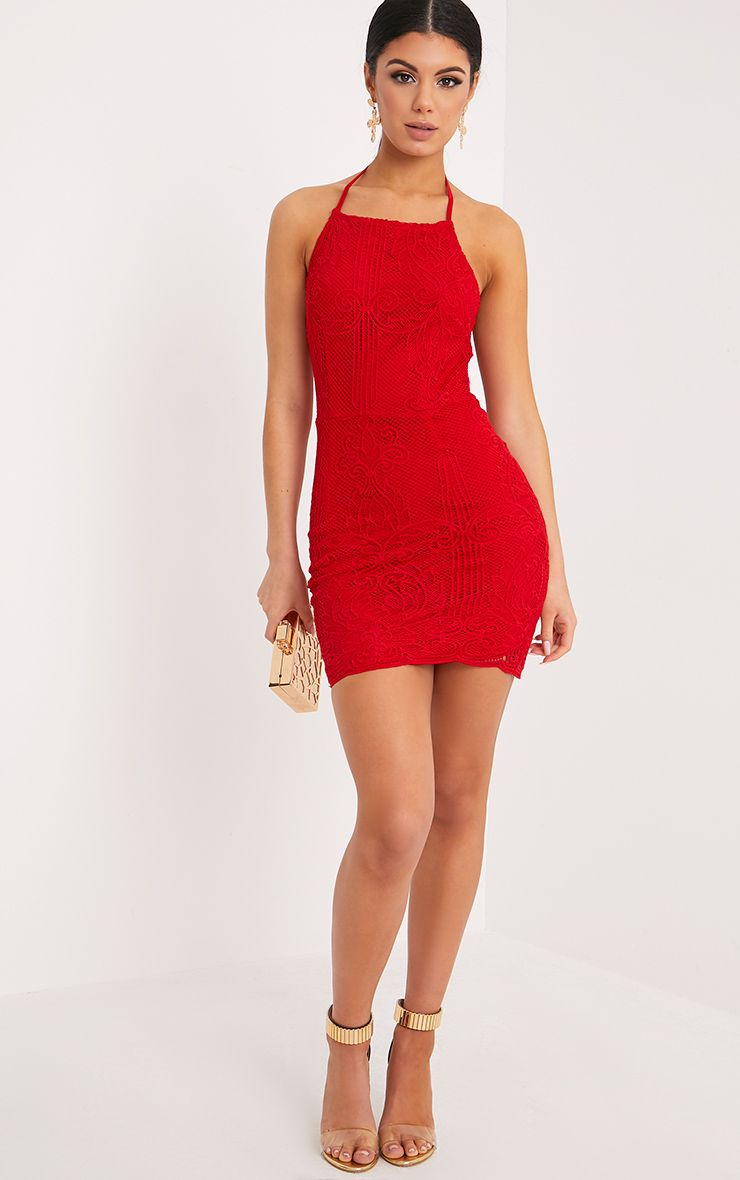 Sassia Red Halterneck Strappy Back Lace Dress 1