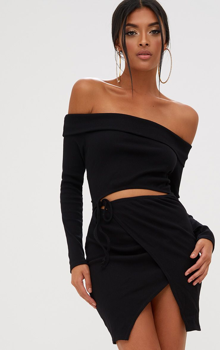 Black Bardot Wrap Tie Front Bodycon Dress