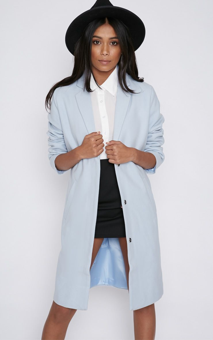 Avril Ice Blue Longline Boyfriend Coat  1