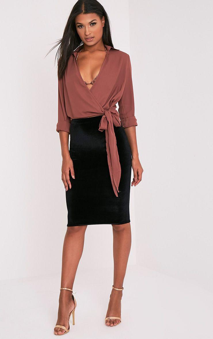 Roberta Black Velvet Midi Skirt 1