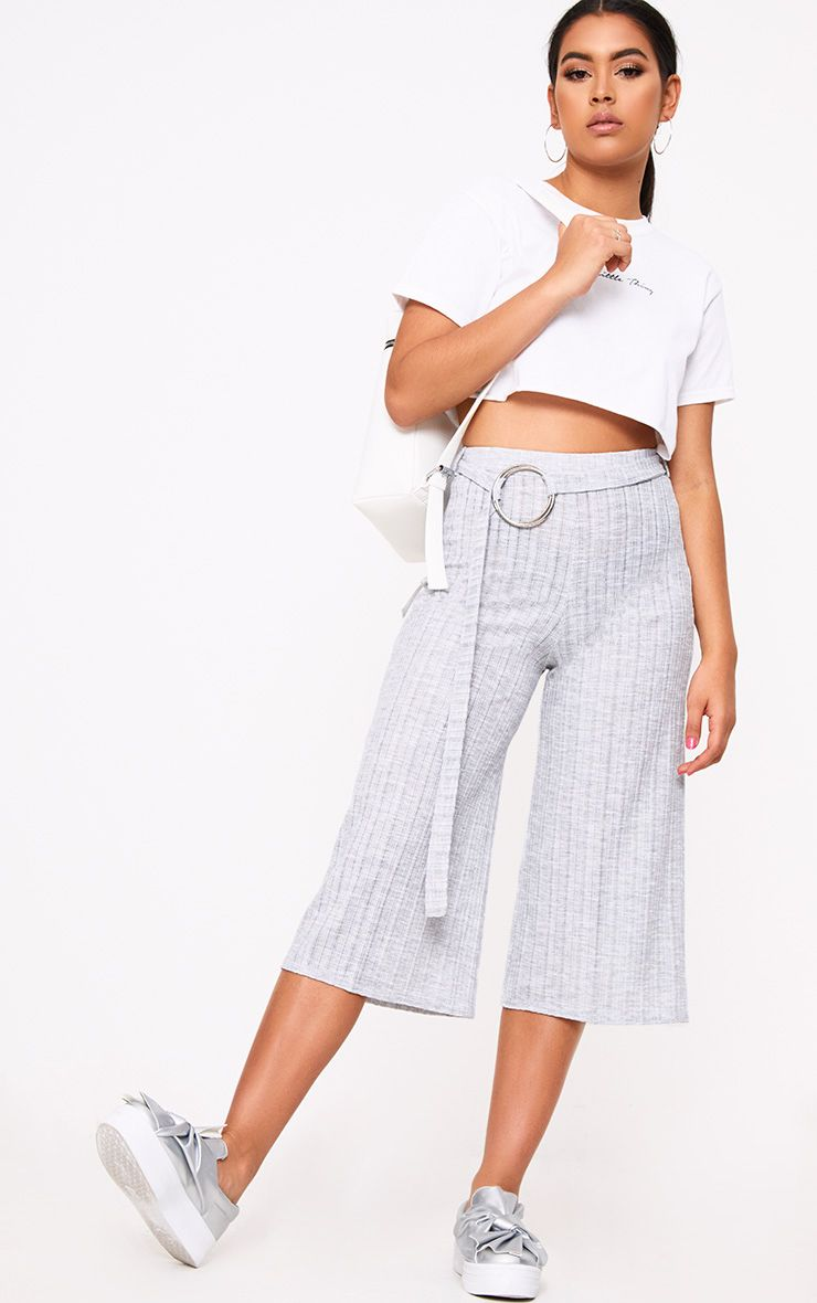 Grey Ring Belted Ribbed Culottes