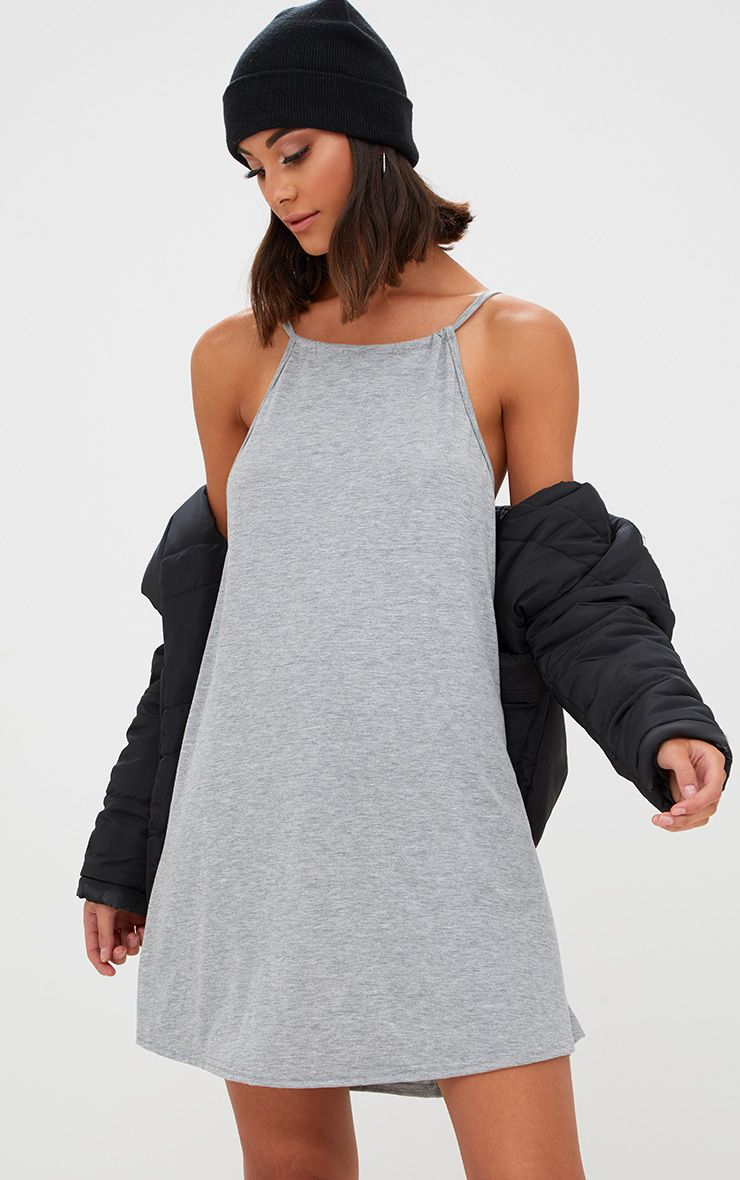 Basic Grey Marl Ruched Halterneck Shift Dress