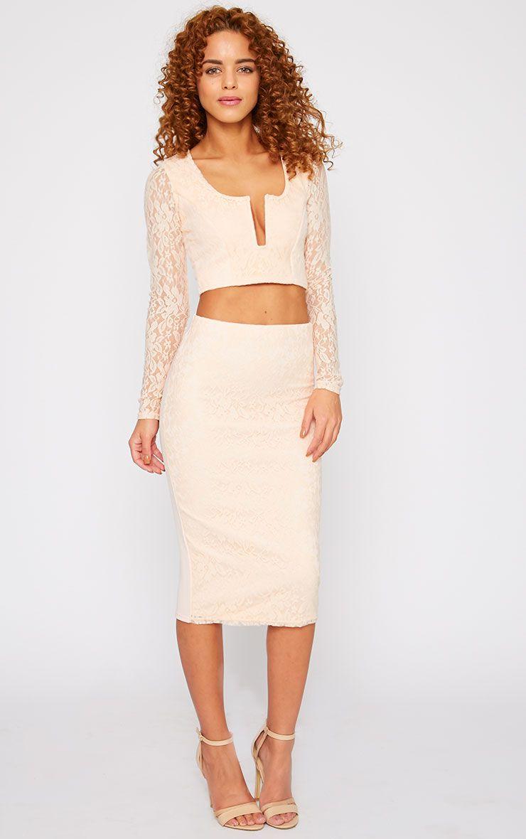 Danita Nude Lace Front Midi Skirt 1