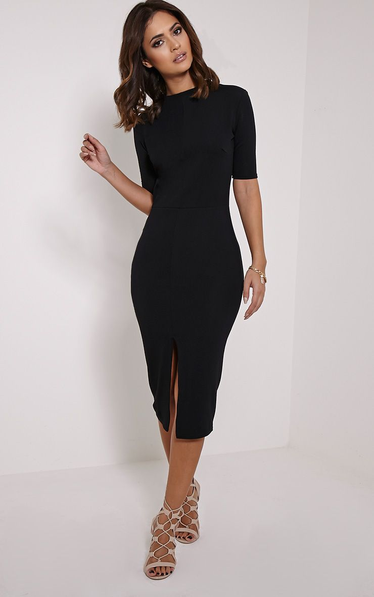 Sana Black Crepe Split Front Midi Dress 1