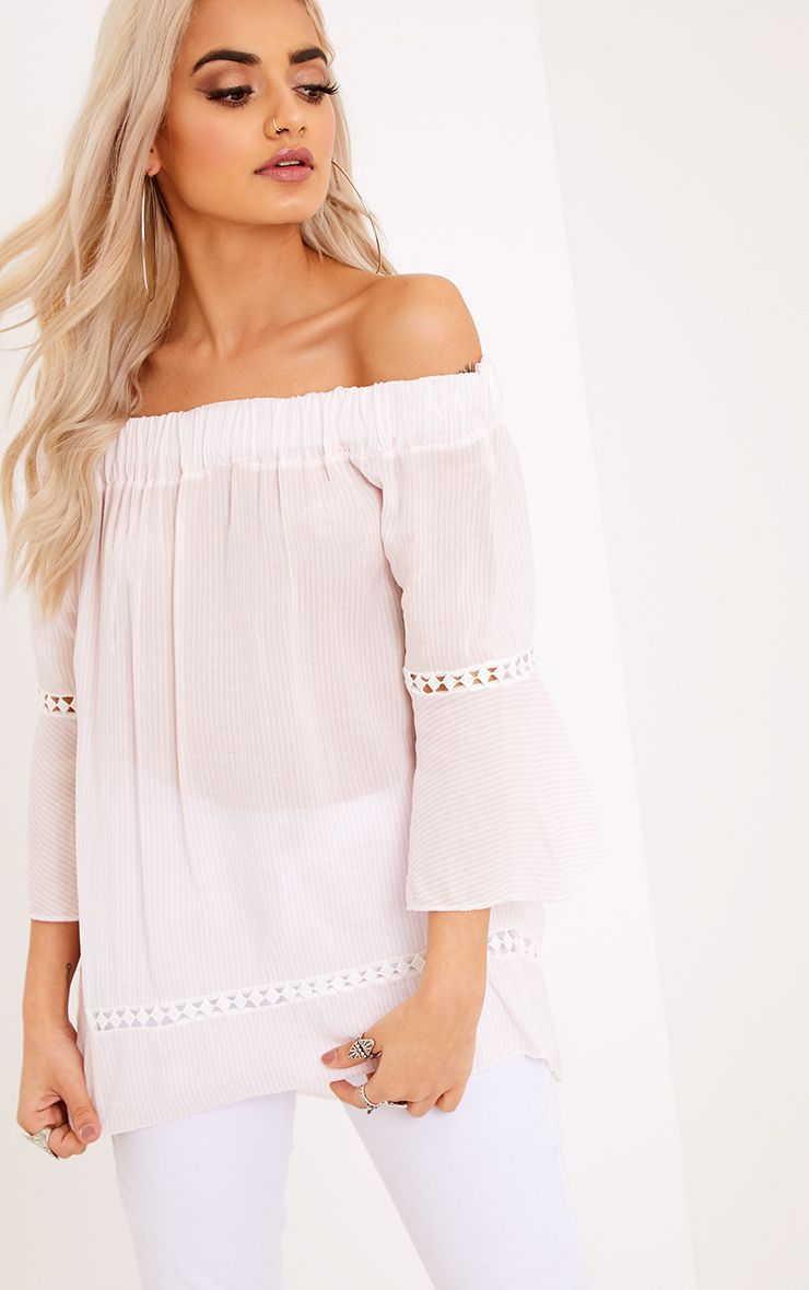 Althea Pink Stripe Bardot Crochet Detail Shirt