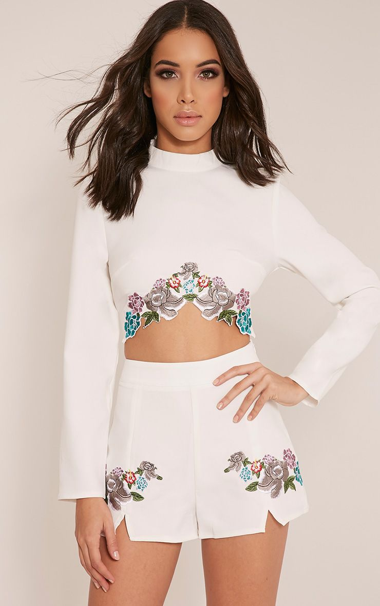 Angie White Floral Embroidered Crop Top 1